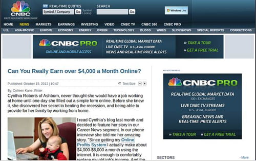 Fake CNBC news article.
